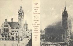Brand des Rathauses in Dessau im April 1910